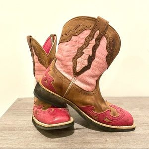 Ariat Fatbaby pink & tan cowboy boots size 9